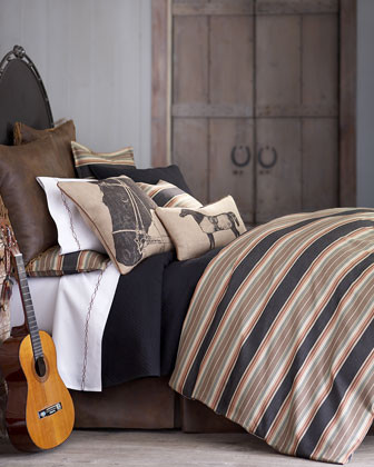 Traditions by Pamela Kline River Valley Bed Linens Striped Pillow, 21Sq. traditional-sheets