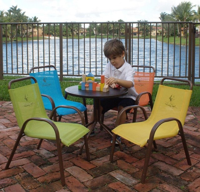 Panama Jack Kids Patio Dining Set Seats 4 Pjk 1001 Esp 5p Contemporary Patio Furniture