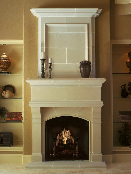 Cast Stone Overmantel #9 - Pictured with Wilshire cast stone fireplace mantel