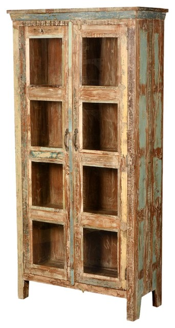 New memories reclaimed wood bookcase with glass door for Wood bookcase with doors