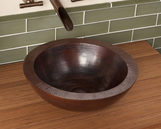 Laguna Antique Copper Sink by Native Trails - A flawless work of art. Laguna's perfectly formed, halved copper sphere vessel could be the only decor you need in your bathroom. Choose from the striking patina of Antique hand hammered copper or the luminous hand-dipped Brushed Nickel finishes.