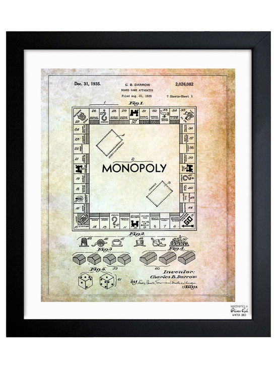 """The Oliver Gal Artist Co. - 'Monopoly 1935' Framed Art - Exclusive blueprints inspired by real vintage patent drawings & illustrations. Handcrafted in the Oliver Gal Artist Co. Studios in Miami, Florida. Produced on matte proofing paper and hand framed by professional framers in a 1.2"""" premium black wood frame. Perfect for any interior design project, gifts, office décor, or to add special value to one of your favorite collections."""