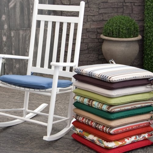 Coral Coast 19 x 18 Rocking Chair Seat Pad Sage Green - Contemporary - Outdoor Cushions And ...