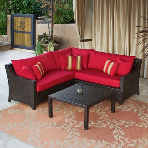 Additional FeaturesBeautiful And Striking Crimson CushionsIncludes ...  Hanamint Outdoor Patio Furniture   Grand Tuscany Sectional Patio .