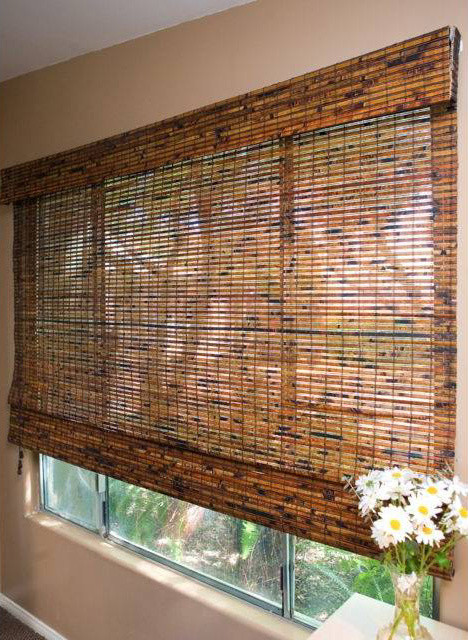 Budget Woven Wood Shades In Jamaica Walnut Tropical