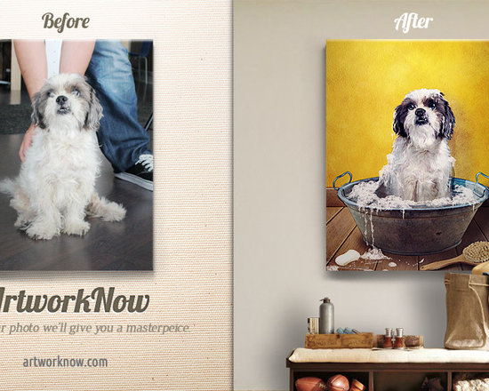 Wash Up - Send us a photo- we'll create a masterpiece. Our artists will paint your pet in this vintage style capturing the look and feel mid-century graphic design. Personalize the image even more and modify the text to your liking.  Available in stunning color on museum-quality paper (giclee) or canvas.