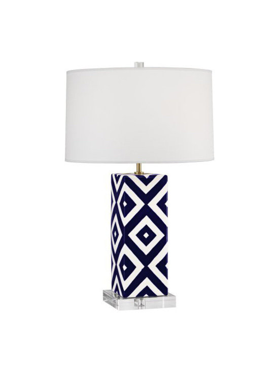 Robert Abbey - Mary Mcdonald Santorini Patterned Table Lamp, Large, Dimond - Mary McDonald's Santorini Collection for Robert Abbey features a table lamp with a blue and white design and clean white shade.