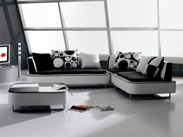 Modern White Leather Sectional Sofa With Black Seats