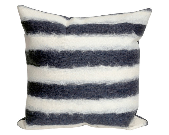 Liora Manne Denim and Cream Soft Stripe Square Throw Pillow