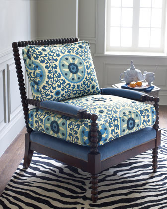 Is The Suzani Spindle Chair Shown In Blue Fabric