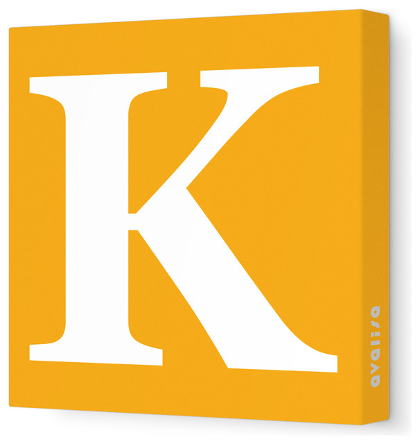 "Letter - Upper Case 'K' Stretched Wall Art, 18"" x 18"", Orange modern-wall-letters"