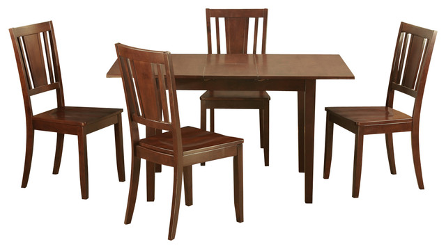 5 piece small kitchen dinette set table with 12in leaf for Traditional kitchen table sets