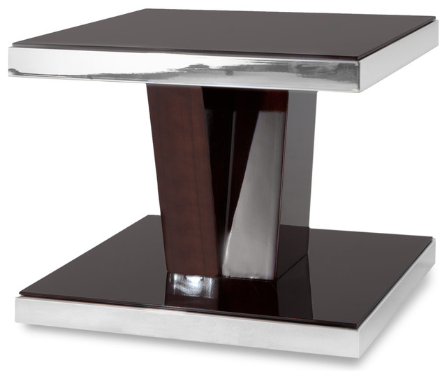Chrome And Wood End Table ~ Tribeca wood and mirrored chrome side table contemporary