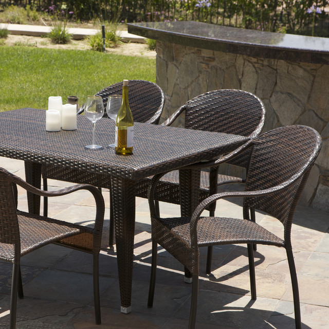 pe wicker 7 piece outdoor dining set contemporary outdoor dining sets