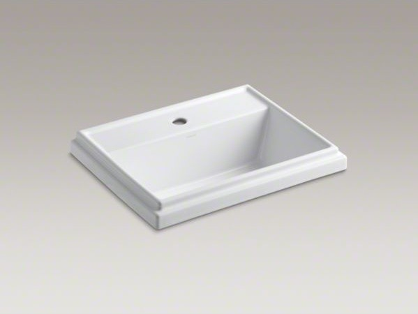KOHLER Tresham(R) rectangular drop-in bathroom sink with single faucet hole contemporary-bathroom-sinks