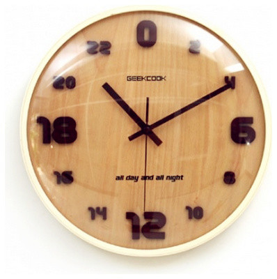 Geekcook 24 Hour Unique Large Wooden Wall Clocks Modern