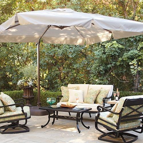 Nice 10 Ft Square Side Mount Patio Umbrella Traditional