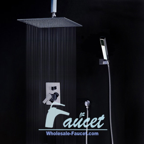 """Shower Valve Trim Kits With 12"""" Ceiling Mounted Rain Shower Head contemporary-showerheads-and-body-sprays"""