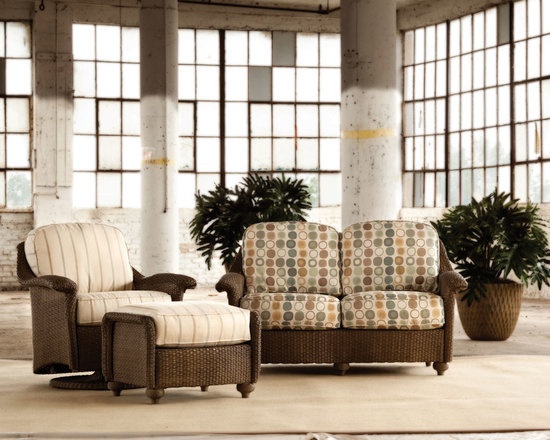 Lloyd Flanders Oxford Collection Seating - Plush comfort meets posh versatility with the Lloyd Flanders Oxford seating pieces, including a love seat, swivel glider and ottoman.