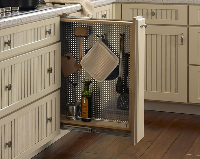 Pullout Perforated Organizer with Hooks traditional cabinet and drawer organizers