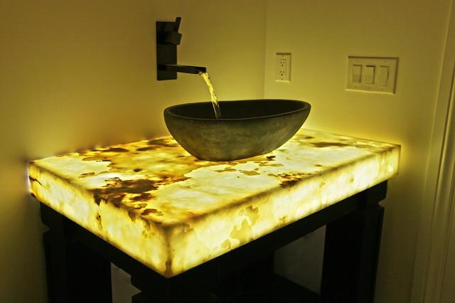 Backlit Onyx Countertop - Contemporary - Bathroom - denver - by YK Stone Center Inc.