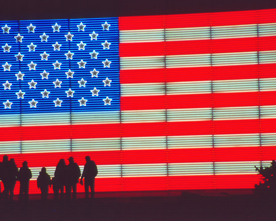 American Flag with Silhouetted Family -