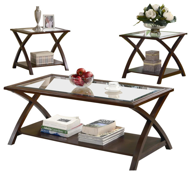 Coaster 3 piece occasional table sets coffee and end table set in nut brown modern side Side table and coffee table set