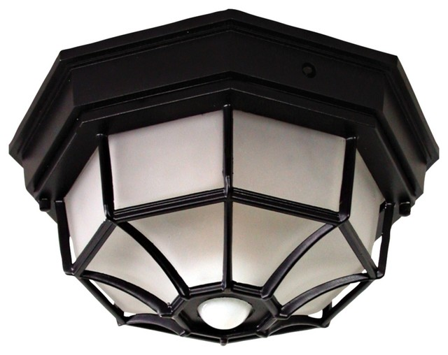 Landscape Lighting Motion Sensor : Octagonal black motion sensor outdoor ceiling light