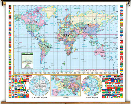 Primary U.S. & World Political Classroom Map Combination on Spring Roller -