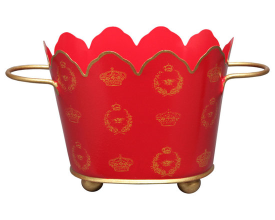 Red Crown & Bee Oval Cachepots - This cachepot add elegance to any living space — even a bath.  A classic crown and bee motif is hand painted in gold on a red background and can be filled with anything from plants to rolled hand towels.