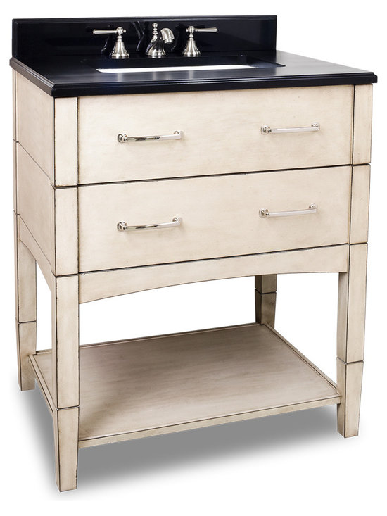 Hardware Resources - Hardware Resources VAN086, Black Granite Top - This 30-1/2 in  solid wood vanity has a rich French White finish to give this contemporary vanity a historic feel. This vanity features clean lines and satin nickel hardware. Two fully working drawers, fitted around the plumbing, and open bottom shelf gives this vanity ample storage. This vanity has a 2.5 cm black granite top preassembled with an 16-5/16 in  x 11-7/16 in  rectangle bowl, cut for 8 in  faucet spread, and corresponding 2 cm x 4 in  tall backsplash. Overall Measurements: 30-1/2 in  x 22-1/4 in  x 36 in  (measurements taken from the widest point)
