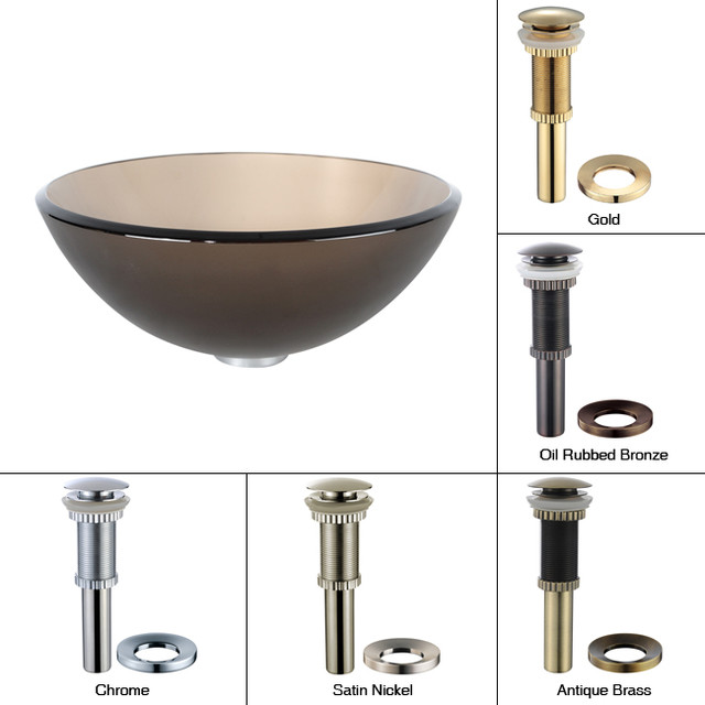 Brown Bathroom Sink : ... Brown 14 inch Glass Vessel Sink with PU-MR Gold modern-bathroom-sinks