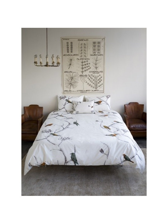 DwellStudio Chinoiserie Pearl Bedding Duvet Cover - This beautiful duvet set from DwellStudio uses just the right amount of white space to let its charming birds and branches knock us out.