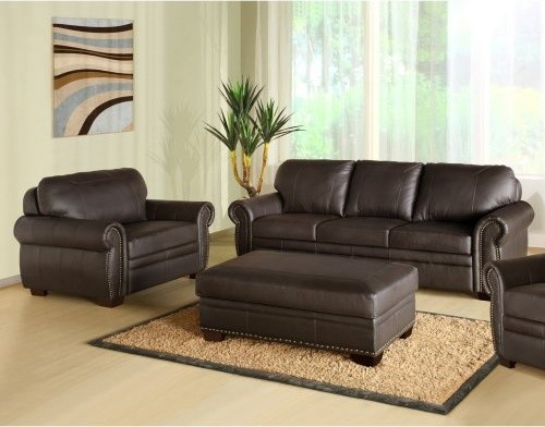Abbyson Living Bellavista Brown Italian Leather Oversized Chair and Ottoman Sofa modern sofas