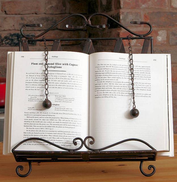 Ornate metal cook book recipe stand holder victorian cookbook stands and recipe holders - Cream recipe book stand ...