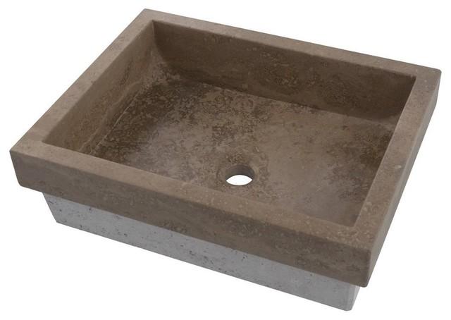 Belle Foret Bflt2ct Rectangular Stone Vessel Sink In Noche
