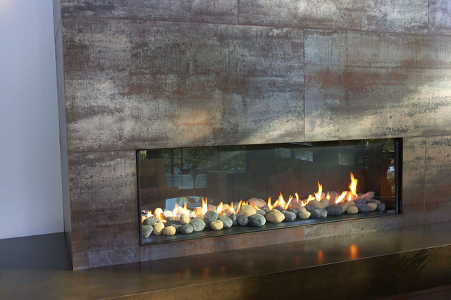 Floor to Ceiling Fireplace in Living Room modern fireplaces