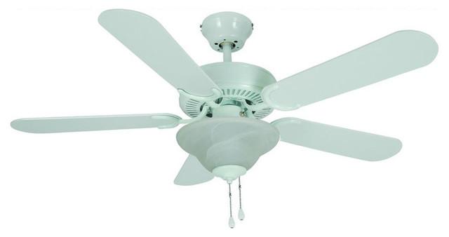 "White 42"" Ceiling Fan w Light Kit Transitional"