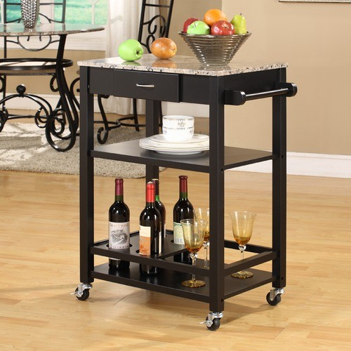 Kitchen Cart with Marble Top modern-kitchen-islands-and-kitchen-carts