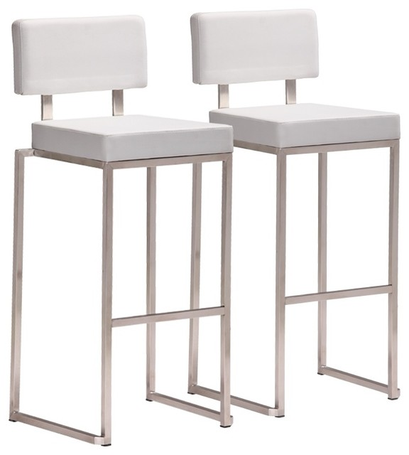 Zuo decade stainless steel and white bar stool set of 2 for Modern kitchen bar stools