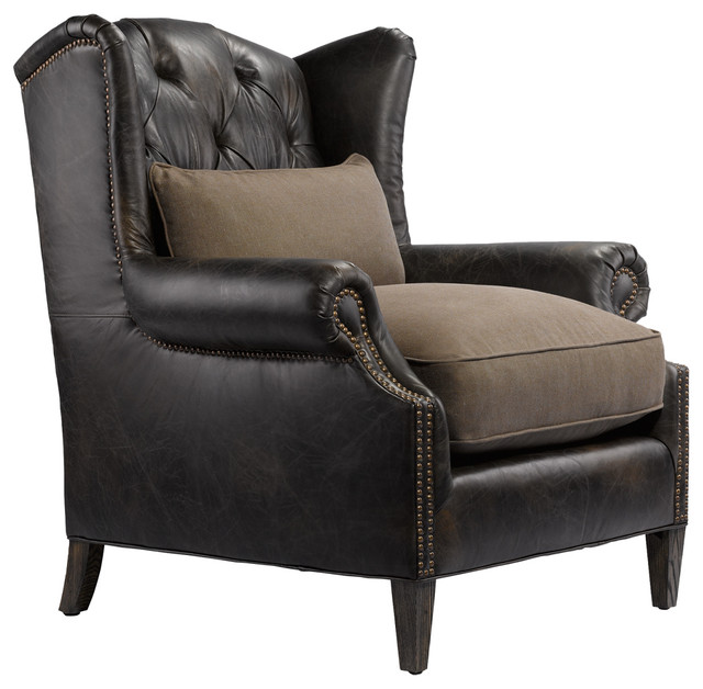 professor 39 s leather reading chair traditional