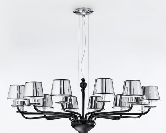 Modern Murano black glass pendant L2010K12 - High-end quality modern pendant hand-crafted with black Murano glass and chromed lamp shades. Also Available in 6, 9 lights and Milk White; Clear Crystal; Smoked Fumé; Black or custom Murano glass color