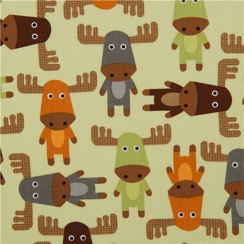 cute light green moose fabric by Robert Kaufman fabric