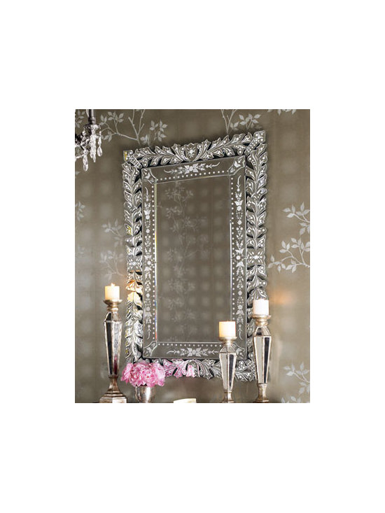 """""""Venetian"""" Mirror - Alice would never want to stop looking into this gorgeous Venetian style looking glass...and neither will you.32""""W x .5""""D x 48""""T."""