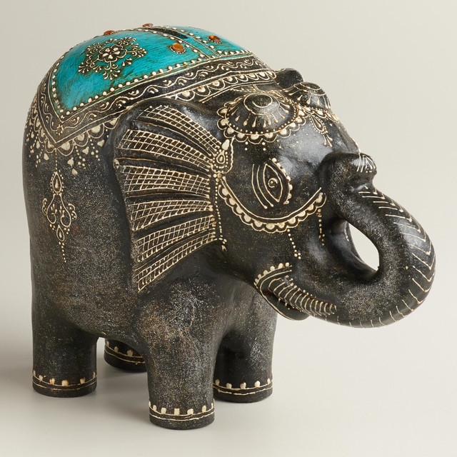 Turquoise terra cotta elephant bank eclectic home decor by cost plus world market Elephant home decor items