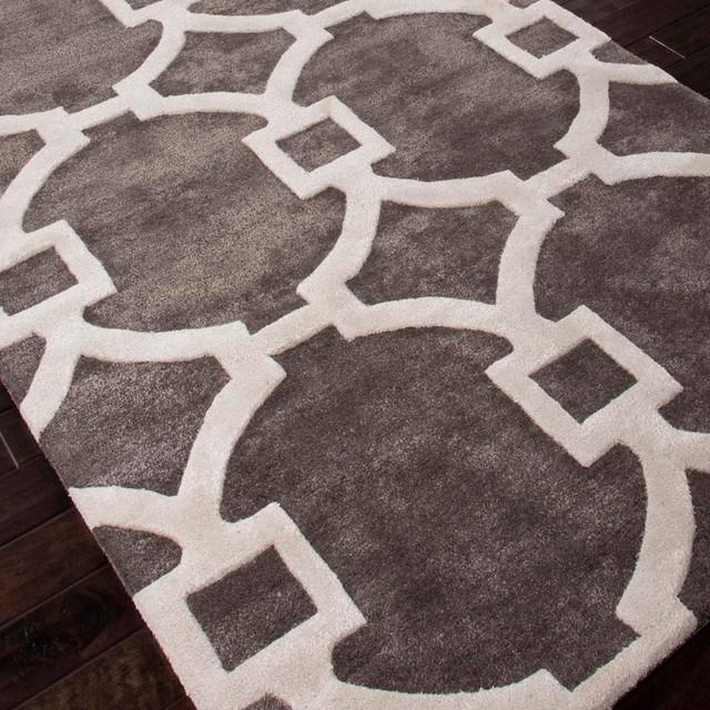 Wool Silk Rugs Contemporary: Contemporary Fretwork Plush Handtufted Wool & Silk Rug