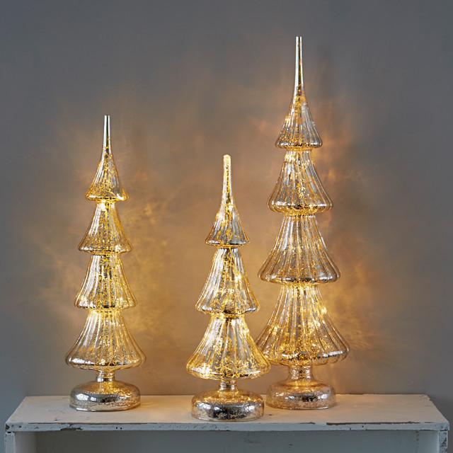 Light up mercurised glass tree decorations contemporary