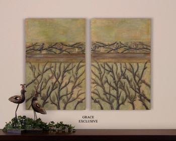 35213 Birds & Branches I, II, S/2 by uttermost modern-artwork