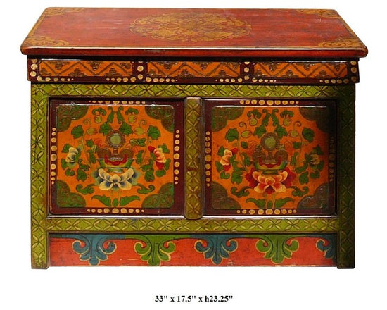 Tibetan Lotus Flowers Graphic Hand Painting Solid Wood Altar Table - You are looking at a Tibetan lotus graphic altar table. It is made of solid elm woo and has lotus hand painting on the top and sides.
