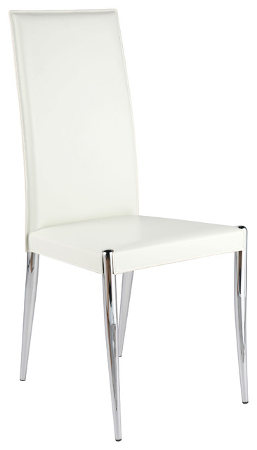 Rosina side chair set of 4 white leather chrome for White leather and chrome dining chairs
